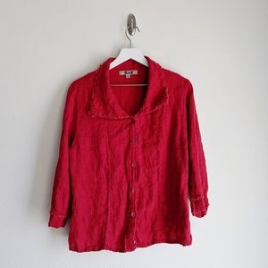 FLAX Red Frayed Button-Down Blouse
